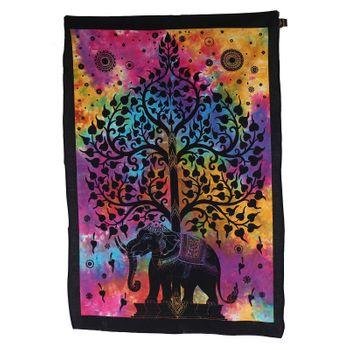 Kunst und Magie Wandbehang Elefant Baum des Lebens ca. 105 x 73 cm Dekotuch – Bild 1