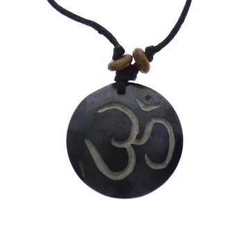 Kunst und Magie Om Manie Padme Hum Amulett schwarz ca. 3,5 cm – Bild 1