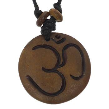 Kunst und Magie Om Manie Padme Hum Amulett Braun ca. 3,5 cm – Bild 1