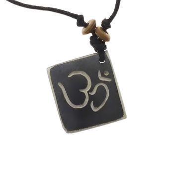 Kunst und Magie Om Manie Padme Hum Anhänger Amulett schwarz ca. 2,5 cm – Bild 1