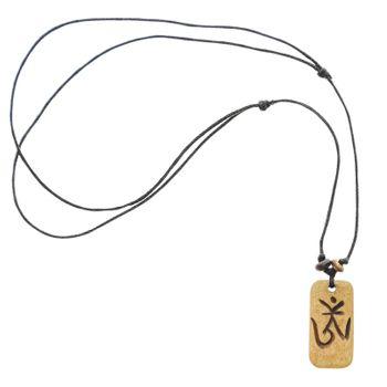 Kunst und Magie Om Manie Padme Hum Anhänger Amulett Beige ca. 3 cm – Bild 2
