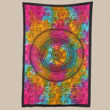 Kunst und Magie Tagesdecke Wandbehang Tuch Elefanten  Mandala ca. 200 x 135 cm  – Bild 2