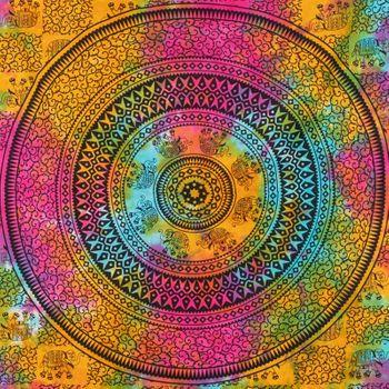 Kunst und Magie Tagesdecke Wandbehang Tuch Elefanten  Mandala ca. 200 x 135 cm  – Bild 4