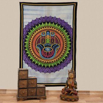Kunst und Magie Tagesdecke Wandbehang Tuch Hamsa Hand der Fatima UV Aktiv  ca. 200 x 135 cm  – Bild 1