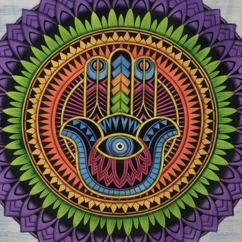 Kunst und Magie Tagesdecke Wandbehang Tuch Hamsa Hand der Fatima UV Aktiv  ca. 200 x 135 cm  – Bild 5