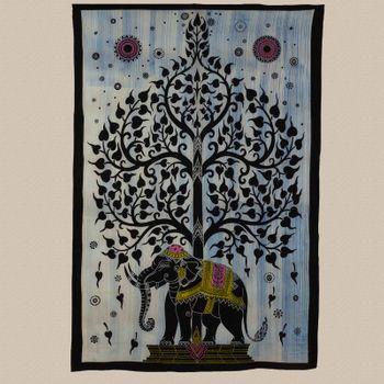 Kunst und Magie Tagesdecke Wandbehang Deko Tuch Elefant Lebensbaum UV Aktiv  ca. 200 x 135 cm  – Bild 3