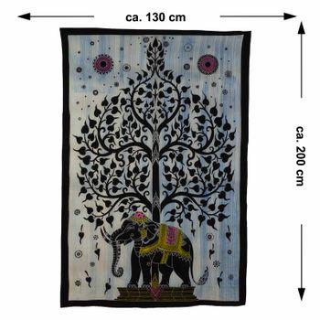Kunst und Magie Tagesdecke Wandbehang Deko Tuch Elefant Lebensbaum UV Aktiv  ca. 200 x 135 cm  – Bild 7
