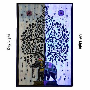 Kunst und Magie Tagesdecke Wandbehang Deko Tuch Elefant Lebensbaum UV Aktiv  ca. 200 x 135 cm  – Bild 5