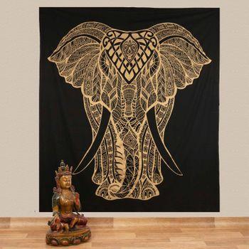Kunst und Magie Tagesdecke Wandbehang Deko Tuch Goldener Elefant  ca. 200 x 230cm  – Bild 1