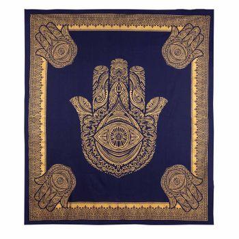 Kunst und Magie Tagesdecke Wandbehang Deko Tuch Goldene Hamsa Hand  ca. 200 x 230cm  – Bild 2