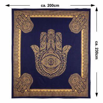 Kunst und Magie Tagesdecke Wandbehang Deko Tuch Goldene Hamsa Hand  ca. 200 x 230cm  – Bild 4