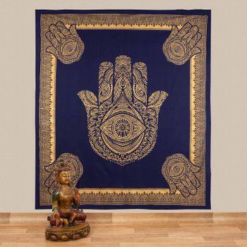 Kunst und Magie Tagesdecke Wandbehang Deko Tuch Goldene Hamsa Hand  ca. 200 x 230cm  – Bild 1