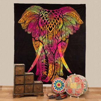 Kunst und Magie Tagesdecke Wandbehang Bunt Deko Tuch Elefant  ca. 200 x 230cm  – Bild 1