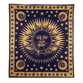 Kunst und Magie Tagesdecke Wandbehang Deko Tuch Gold Sonne Mond und Sterne  ca.200 x 230cm  – Bild 2