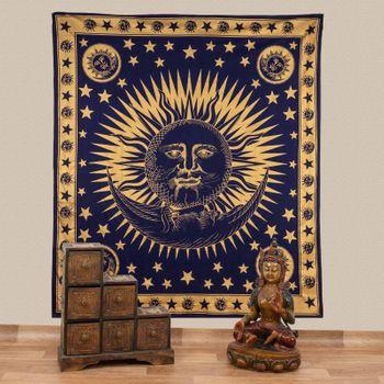 Kunst und Magie Tagesdecke Wandbehang Deko Tuch Gold Sonne Mond und Sterne  ca.200 x 230cm  – Bild 1