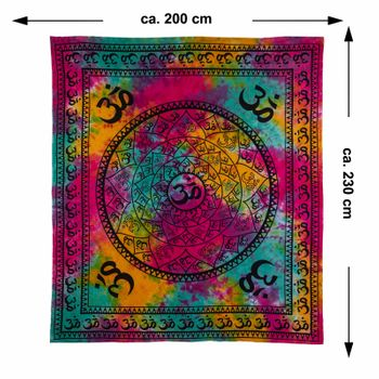 Kunst und Magie AUM Tagesdecke Wandbehang Bunt Deko Tuch OM Mandala ca. 200 x 230cm  – Bild 4