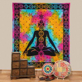 Kunst und Magie AUM Tagesdecke Wandbehang Bunt Deko Tuch  Chakra Buddha Meditation ca. 200 x 230cm  – Bild 1