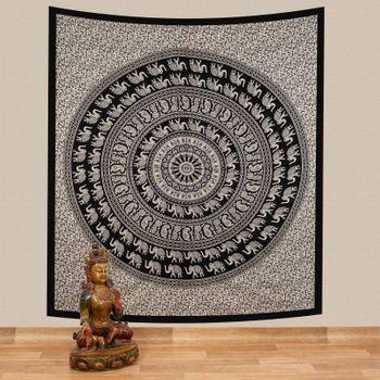 Kunst und Magie Tagesdecke Wandbehang Bunt Deko Tuch Elefant Mandala ca. 200 x 230cm  – Bild 1