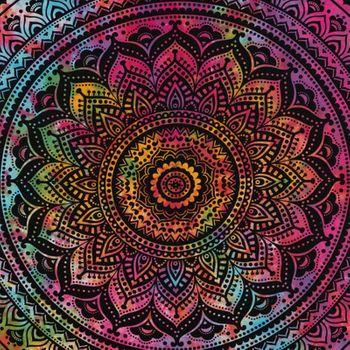 Kunst und Magie Tagesdecke Wandbehang Bunt Deko Tuch Mandala Bunt ca. 200 x 230cm  – Bild 4
