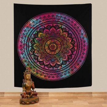 Kunst und Magie Tagesdecke Wandbehang Bunt Deko Tuch Mandala Bunt ca. 200 x 230cm  – Bild 1