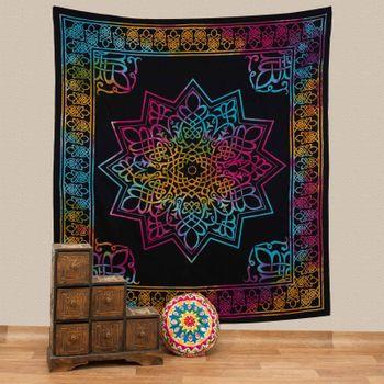 Kunst und Magie Tagesdecke Wandbehang Stern Deko StarTuch Mandala Bunt ca. 200 x 230cm  – Bild 1