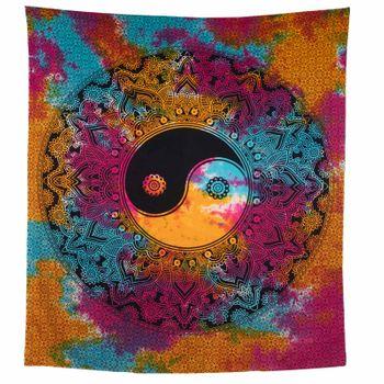Kunst und Magie Tagesdecke Wandbehang Tuch Buntes  Ying & Yang  Mandala ca. 200 x 230cm  – Bild 3