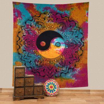 Kunst und Magie Tagesdecke Wandbehang Tuch Buntes  Ying & Yang  Mandala ca. 200 x 230cm  – Bild 1