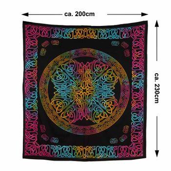 Kunst und Magie Tagesdecke Wandbehang Keltisch Tuch Buntes Celtic Mandala ca. 200 x 230cm  – Bild 6