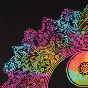 Kunst und Magie Tagesdecke Wandbehang Tuch Buntes Ying & Yang  Mandala ca. 200 x 230cm  – Bild 6
