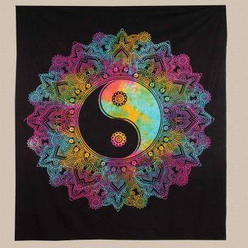 Kunst und Magie Tagesdecke Wandbehang Tuch Buntes Ying & Yang  Mandala ca. 200 x 230cm  – Bild 4