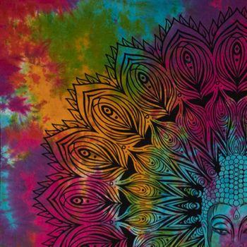 Kunst und Magie AUM Tagesdecke Wandbehang Bunt Deko Tuch Buddha Meditation ca. 200 x 230cm  – Bild 5