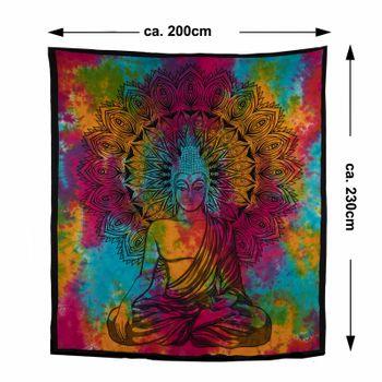 Kunst und Magie AUM Tagesdecke Wandbehang Bunt Deko Tuch Buddha Meditation ca. 200 x 230cm  – Bild 6