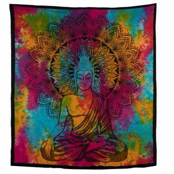 Kunst und Magie AUM Tagesdecke Wandbehang Bunt Deko Tuch Buddha Meditation ca. 200 x 230cm  – Bild 3