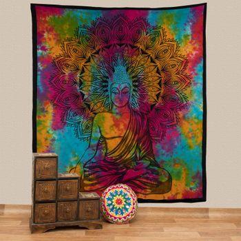 Kunst und Magie AUM Tagesdecke Wandbehang Bunt Deko Tuch Buddha Meditation ca. 200 x 230cm  – Bild 1