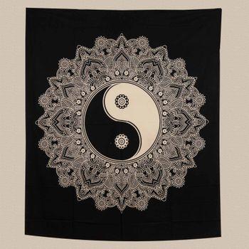 Kunst und Magie Tagesdecke Wandbehang Tuch Schwarz Weis Ying & Yang  Mandala ca. 200 x 230cm  – Bild 3
