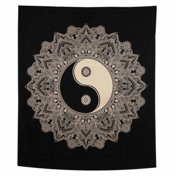 Kunst und Magie Tagesdecke Wandbehang Tuch Schwarz Weis Ying & Yang  Mandala ca. 200 x 230cm  – Bild 6
