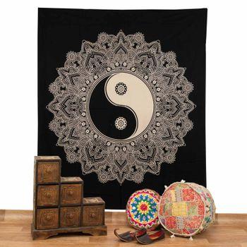 Kunst und Magie Tagesdecke Wandbehang Tuch Schwarz Weis Ying & Yang  Mandala ca. 200 x 230cm  – Bild 2