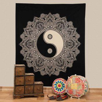 Kunst und Magie Tagesdecke Wandbehang Tuch Schwarz Weis Ying & Yang  Mandala ca. 200 x 230cm  – Bild 1
