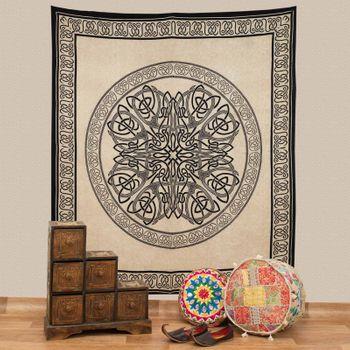Kunst und Magie Tagesdecke Wandbehang Keltische Knoten Tuch Celtic Mandala ca. 200 x 230cm  – Bild 1
