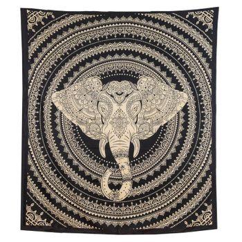Kunst und Magie Tagesdecke Wandbehang Deko Tuch Elefanten Mandala ca. 200 x 230cm  – Bild 3