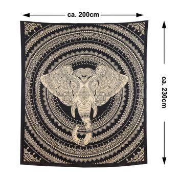 Kunst und Magie Tagesdecke Wandbehang Deko Tuch Elefanten Mandala ca. 200 x 230cm  – Bild 7