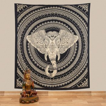 Kunst und Magie Tagesdecke Wandbehang Deko Tuch Elefanten Mandala ca. 200 x 230cm  – Bild 1