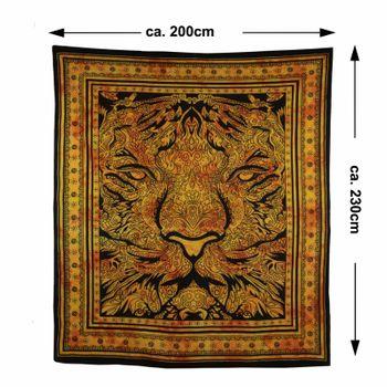 Kunst und Magie Tagesdecke Wandbehang Deko Tuch Tiger Meditation ca. 200 x 230cm  – Bild 5