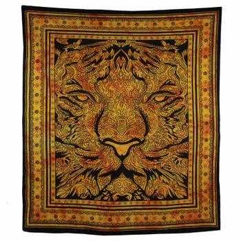 Kunst und Magie Tagesdecke Wandbehang Deko Tuch Tiger Meditation ca. 200 x 230cm  – Bild 2