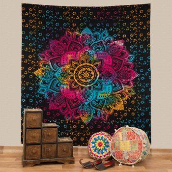 Kunst und Magie Tagesdecke Wandbehang Bunt Deko Tuch Lotus Mandala Meditation ca. 200 x 230cm  – Bild 1