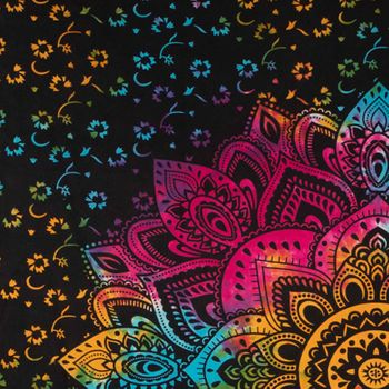 Kunst und Magie Tagesdecke Wandbehang Bunt Deko Tuch Lotus Mandala Meditation ca. 200 x 230cm  – Bild 3