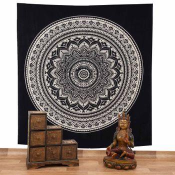 Kunst und Magie Tagesdecke Wandbehang Deko Tuch Indisches Mandala ca. 200 x 230cm Schwarz – Bild 2