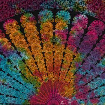 Kunst und Magie Tagesdecke Wandbehang Bunt Deko Tuch Pfau Mandala Meditation ca. 200 x 230cm  – Bild 4