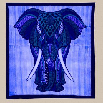 Kunst und Magie XL Tagesdecke Wandbehang Deko Elefant Meditation UV Aktiv  ca. 200 x 230 cm  – Bild 4