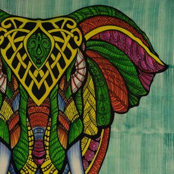 Kunst und Magie XL Tagesdecke Wandbehang Deko Elefant Meditation UV Aktiv  ca. 200 x 230 cm  – Bild 5